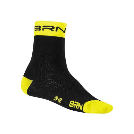 BRN SOCKS BLACK/FLUO YELLOW