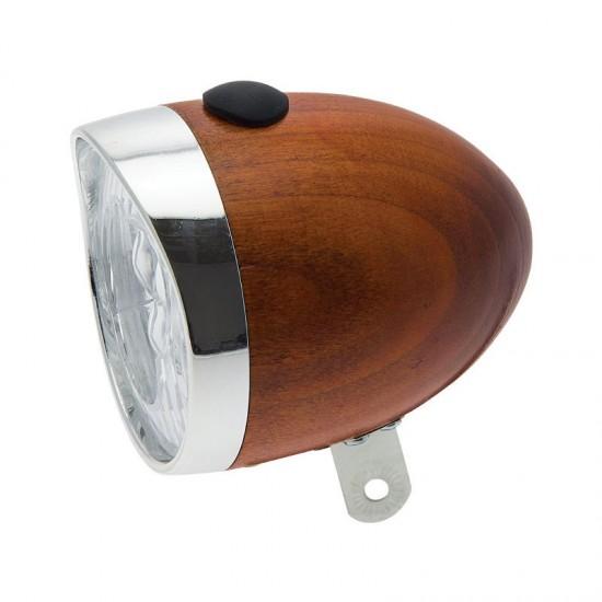 3 LEDs WOODEN HEAD LAMP HONEY COLOR